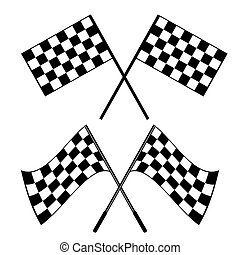 Crossed black and white checkered flags logo conceptual of...