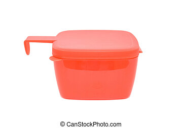Red plastic food container with lid isolated