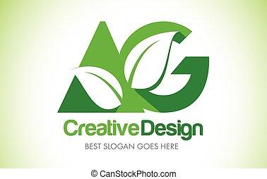AG Green Leaf Letter Design Logo. Eco Bio Leaf Letter Icon...
