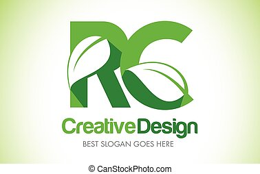 RC Green Leaf Letter Design Logo. Eco Bio Leaf Letter Icon...