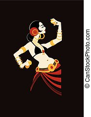 tribal belly dancer with cymbals holding expressive impressive pose