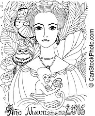Coloring book for adult. Young lady with Owl and Monkey.