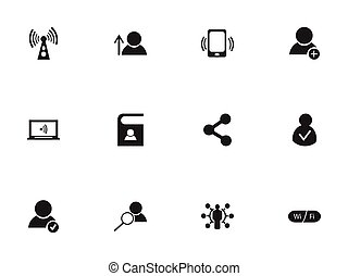 Set Of 12 Editable Network Icons. Includes Symbols Such As Monitor, New Friend, Access Allowed And More. Can Be Used For Web, Mobile, UI And Infographic Design.