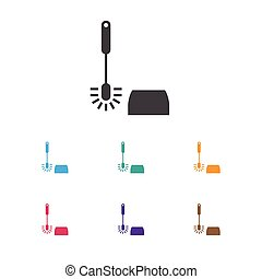 Vector Illustration Of Cleaning Symbol On Toilet Brush Icon. Premium Quality Isolated Wc Cleaning Element In Trendy Flat Style.