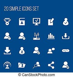 Set Of 20 Editable Global Icons. Includes Symbols Such As Modem, Computer, Approve User And More. Can Be Used For Web, Mobile, UI And Infographic Design.
