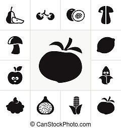 Set Of 12 Editable Cooking Icons. Includes Symbols Such As Cherry, Nectarine, Tomato And More. Can Be Used For Web, Mobile, UI And Infographic Design.