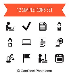 Set Of 12 Editable Office Icons. Includes Symbols Such As World, Work At The Computer, Monitor And More. Can Be Used For Web, Mobile, UI And Infographic Design.
