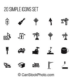 Set Of 20 Editable Structure Icons. Includes Symbols Such As Mallet, Mop, Shovel And More. Can Be Used For Web, Mobile, UI And Infographic Design.