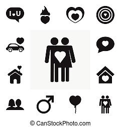 Set Of 12 Editable Amour Icons. Includes Symbols Such As Valentine Balloons, Car, Heartbeat And More. Can Be Used For Web, Mobile, UI And Infographic Design.