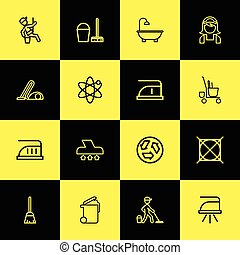 Set Of 16 Editable Cleanup Outline Icons. Includes Symbols Such As Bathtub, Alternative Energy, Dust And More. Can Be Used For Web, Mobile, UI And Infographic Design.