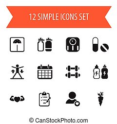 Set Of 12 Editable Exercise Icons. Includes Symbols Such As Questionnaire, Hand Barbell, Weight Measurement. Can Be Used For Web, Mobile, UI And Infographic Design.