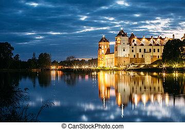 mir, tarde, Belarus, brillante, Complejo, iluminación,...