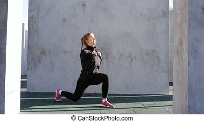 fitness woman doing lunges - Attractive fitness woman doing...