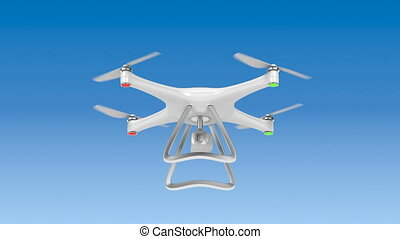 Unmanned aerial vehicle (drone) flying in the sky