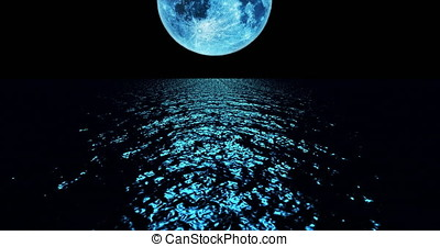 A 4K Blue colored moon setting slowly over the ocean at night with the color of the moon reflecting light onto the ocean waves