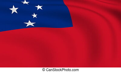 Flying Flag of SAMOA | LOOPED |