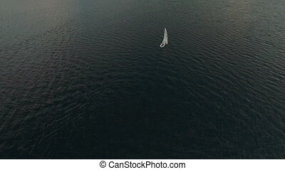 Aerial view of yachts sailing.Regatta yacht club sailing.Sailing boat.UHD