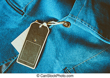Lable tag - Empty tag brown color label on denim clothing