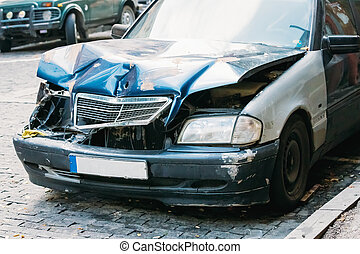 Close Up Of Broken Bumper And Bonnet Or Hood Of Luxury Car...