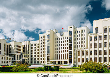 Minsk, Belarus. White Government Parliament Building Or National Assembly Of Belarus In Independence Square.