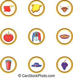 Madrid icons set, cartoon style - Madrid icons set. Cartoon...