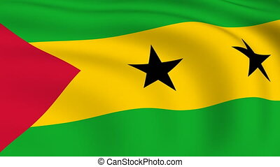 Flying Flag of SAO TOME AND PRINCIPE | LOOPED |
