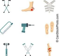 Orthopedic prosthetic icon set, flat style - Orthopedic...