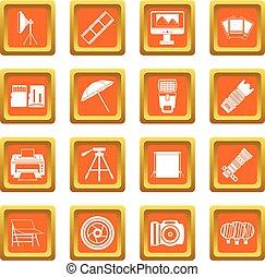 Photo studio icons set orange - Photo studio icons set in...