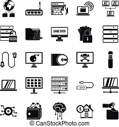 Optical drive icons set, simple style