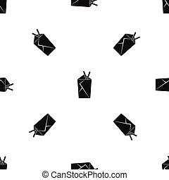 Chinese food box pattern seamless black