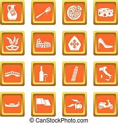 Italia icons set orange - Russia icons set in orange color...