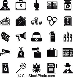 Criminal offence icons set, simple style - Criminal offence...