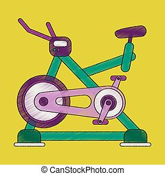 平ら, スタイル, 自転車, 影で覆うこと, 練習, アイコン