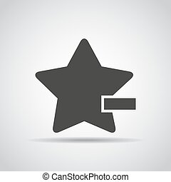 Star with minus icon with shadow on a gray background....