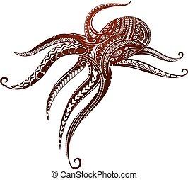 Maori style octopus tattoo