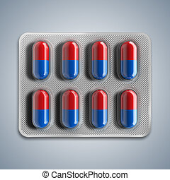 Red and blue pills in a blister on gray background. 3d...