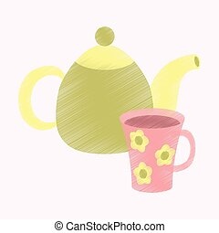 flat shading style icon Tea kettle and cup