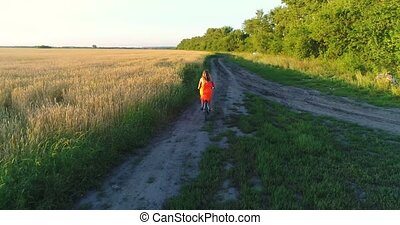 Girl in a dress riding a Bicycle along the wheat fields. Shooting at a drone. Beautiful landscape from a height