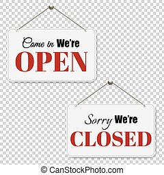 Open And Closed Signs Set Transparent Background