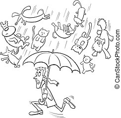 raining cats and dogs cartoon illustration - Black and White...