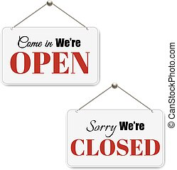 Open And Closed Signs Set