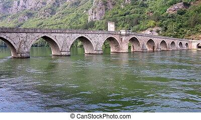 famous stone bridge on Drina river Visegrad Bosnia