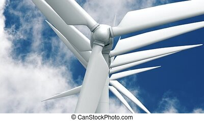 Many wind power generators on sky background. 4K 3d...