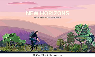 man riding bicycle - New horizons - conceptual illustration...