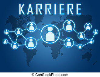 Karriere - german word for career - text concept on blue...