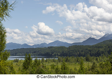 Nature landscape with mountain panorma at Staffelsee,...