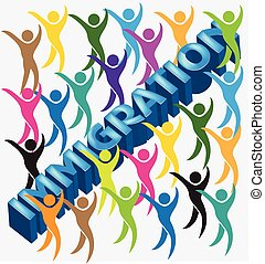 Immigration 3d word and people figures vector image