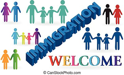 Families immigration welcome background template