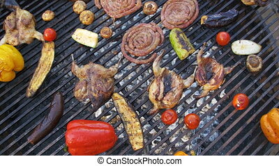Top View of the Cooking of Meat and Vegetables on the Grill....