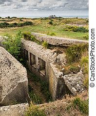 Concrete bunker Pointe Du Hoc - Remains of the German...